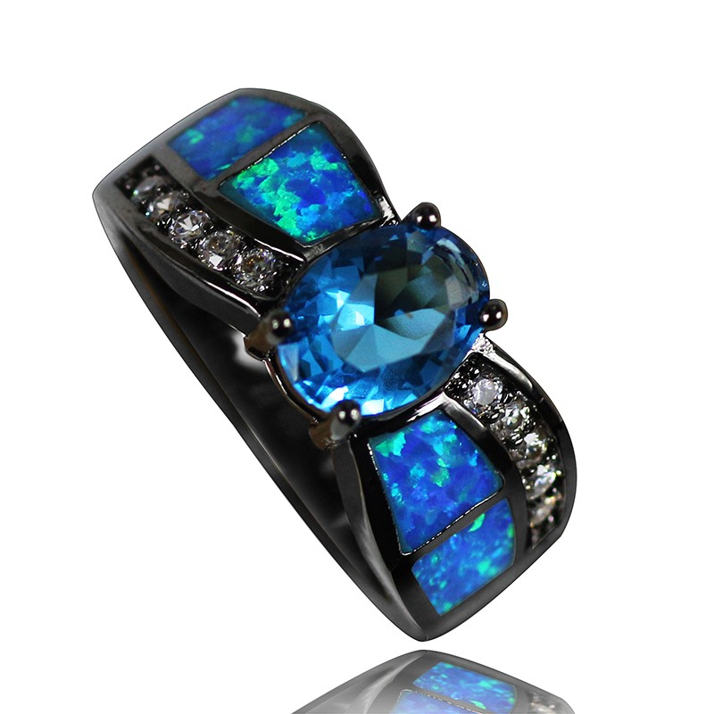 JZR0110 Noble Design Luxury Black Niello Plated Blue Opal Rings Fine Jewelry Women Party Cocktail Ring Fashion Finger Rings
