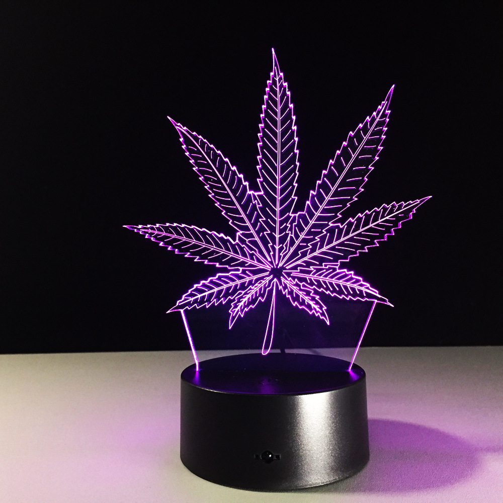 Led Night Lights 3d Led Night Lamp Touch/remote Control 7-color Led Marijuana Cannabis Leaf Acrylic Panel Table Light For Bedroom Kids Child Gift Elegant And Sturdy Package Led Lamps