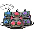 Vintage Embroidery Floral Embroidered Backpack Women School Backpacks for Teenage Girls Laptop Bag Rucksack Bagpack Female