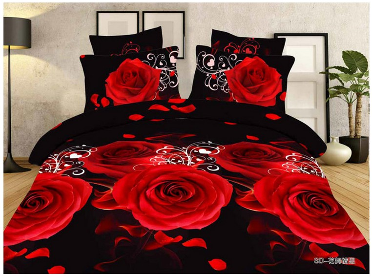Aliexpress.com : Buy 3D Black And Red Rose Bedding Set