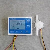 US211M Display with USN-HS10PA POM Flow Meter Totalizer Flow Measurement 0.5-10L/min Range 10mm OD hose barb