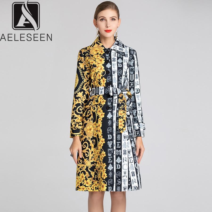 AELESEEN 2019 Spring Runway Women Long Trench Yellow Floral Printed Belt Vintage Long Sleeve Strip Contrast