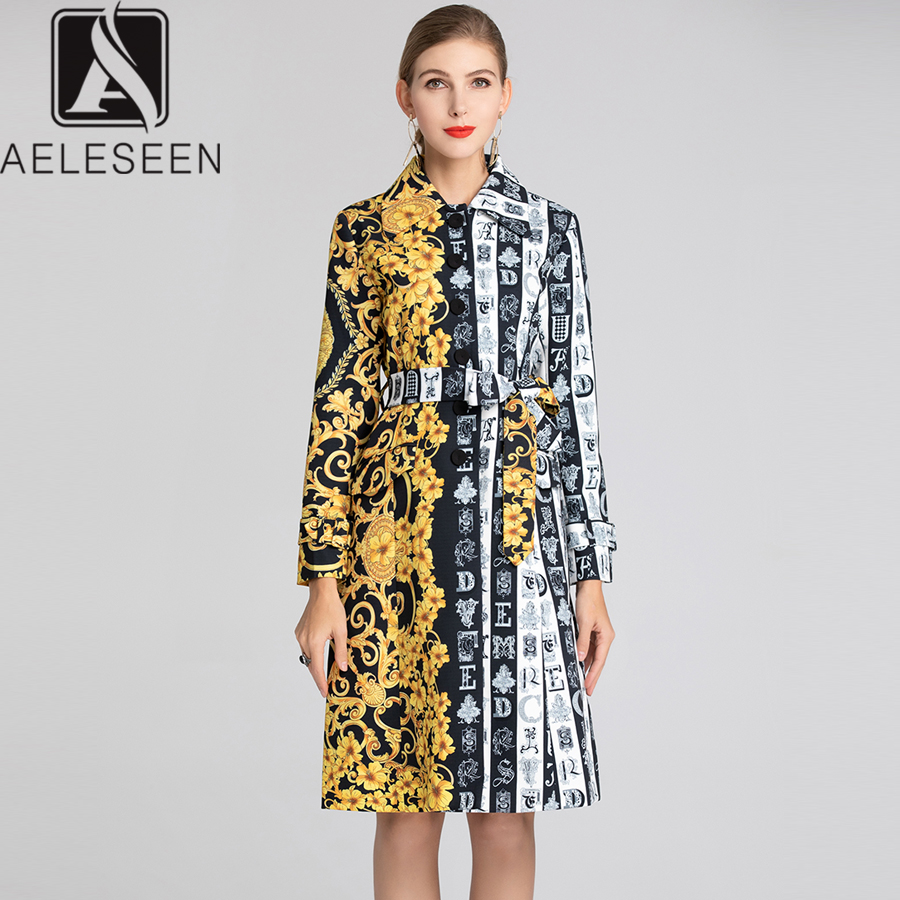 AELESEEN 2019 Spring Runway Women Long   Trench   Yellow Floral Printed Belt Vintage Long Sleeve Strip Contrast Color Vintage Coat