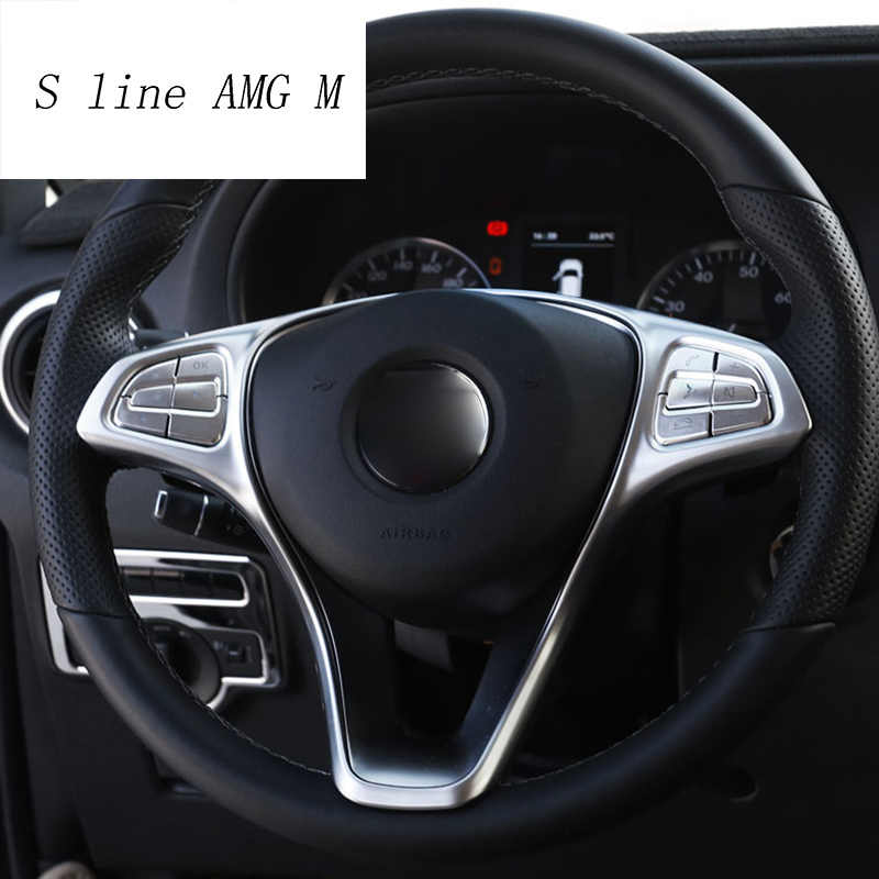 Car Carbon Fiber Style Steering Wheel Button Frame Trim for Benz Vito W447 2014-2017 Steering Wheel Button Frame