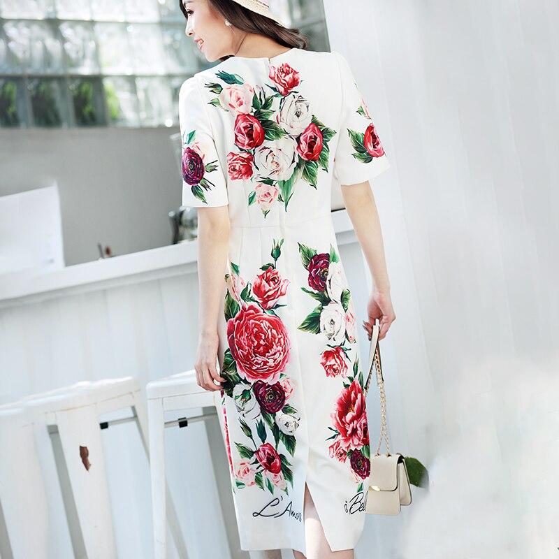 Pivoine Multi À Manches Robe Midi Élégant De Haute Imprimé Courtes Fashoin Floral D'été Veau Cristal Piste Femmes 2018 Bouton Qualité nqq1WHBO