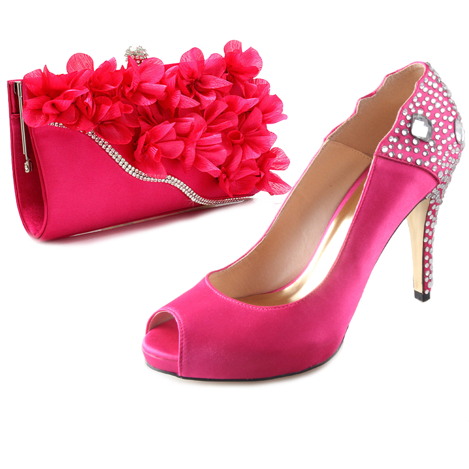 Hot pink 3D flower hangbag clutch with crystal rhinestone shoes for tropical wedding party evening dress cocktail high heels