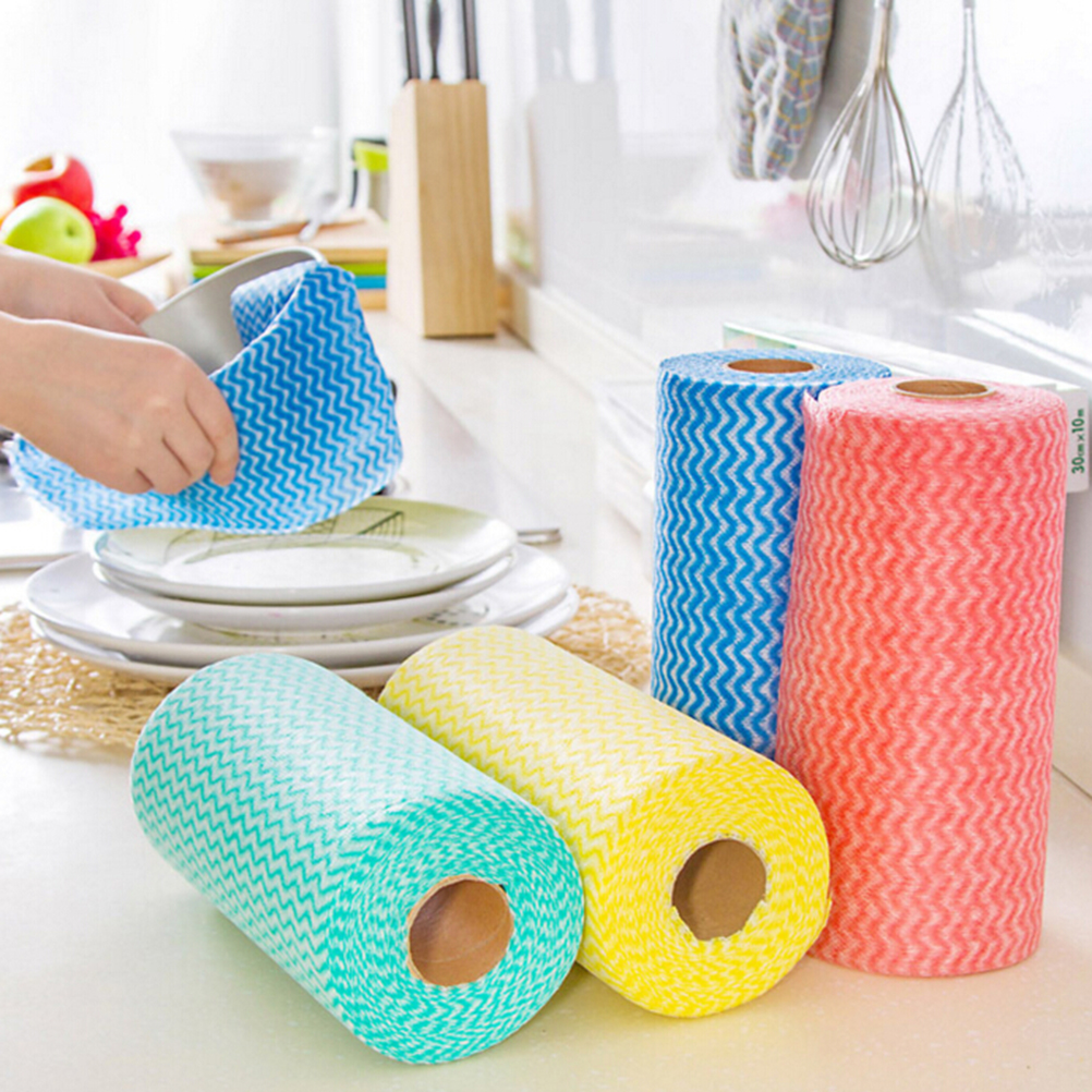 HENGHOME 1 Roll Kitchen Disposable Non woven Fabrics Wash Clean ...