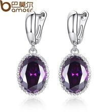 BAMOER Luxury Big Green Stone Drop Earrings for Women Earrings Jewelry Engagement Accessories Gift YIE105-GN