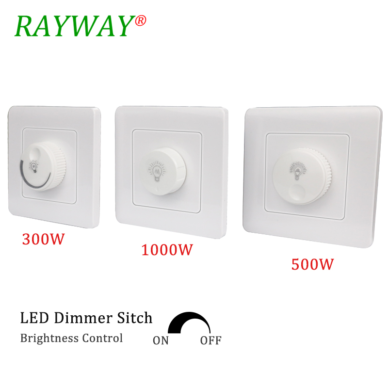 LED Triac Dimmer Switch 110V-220V 300W /500W /1000W Brightness Controller Dimmers For Adjustable LED Panel Lights Bulbs Lamps
