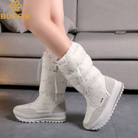 Knee High Flat With Waterproof Zipper Up Snow Boots Wear Girl White Colour Flower Boots 2017