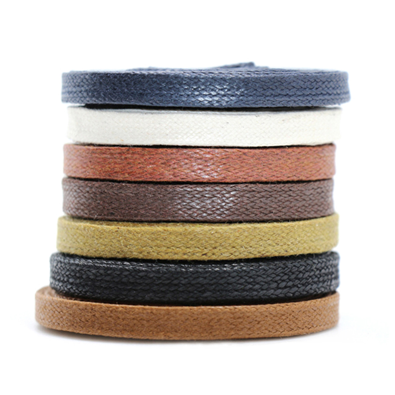1Pair Waxed Cotton Flat Shoe Laces Leather Waterproof ShoeLaces Men Martin Boots Shoelace Shoestring Length 80/100/120/150CM