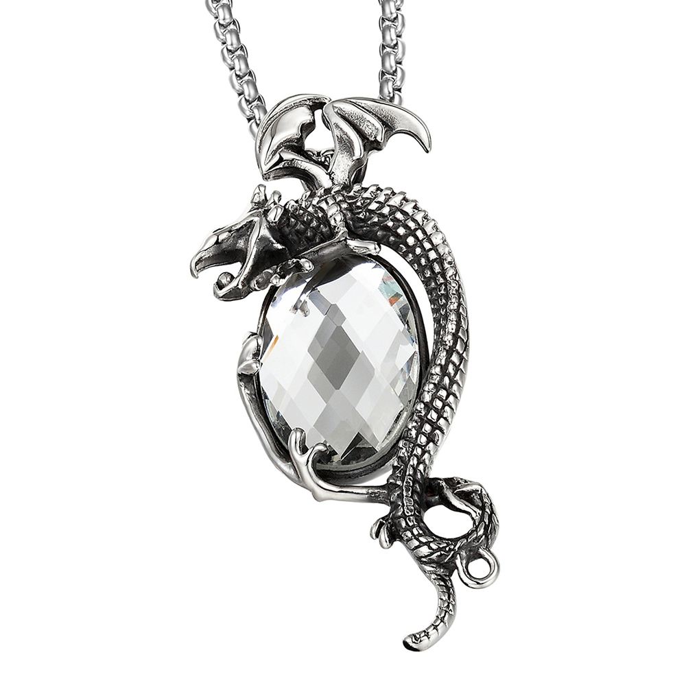 Jewelry & Accessories Necklaces & Pendants Hip-hop Goofan Flying Dragon Crystal Pendant Necklace High Quality Stainless Steel Ornaments And Gifts For Men And Women Stn1103