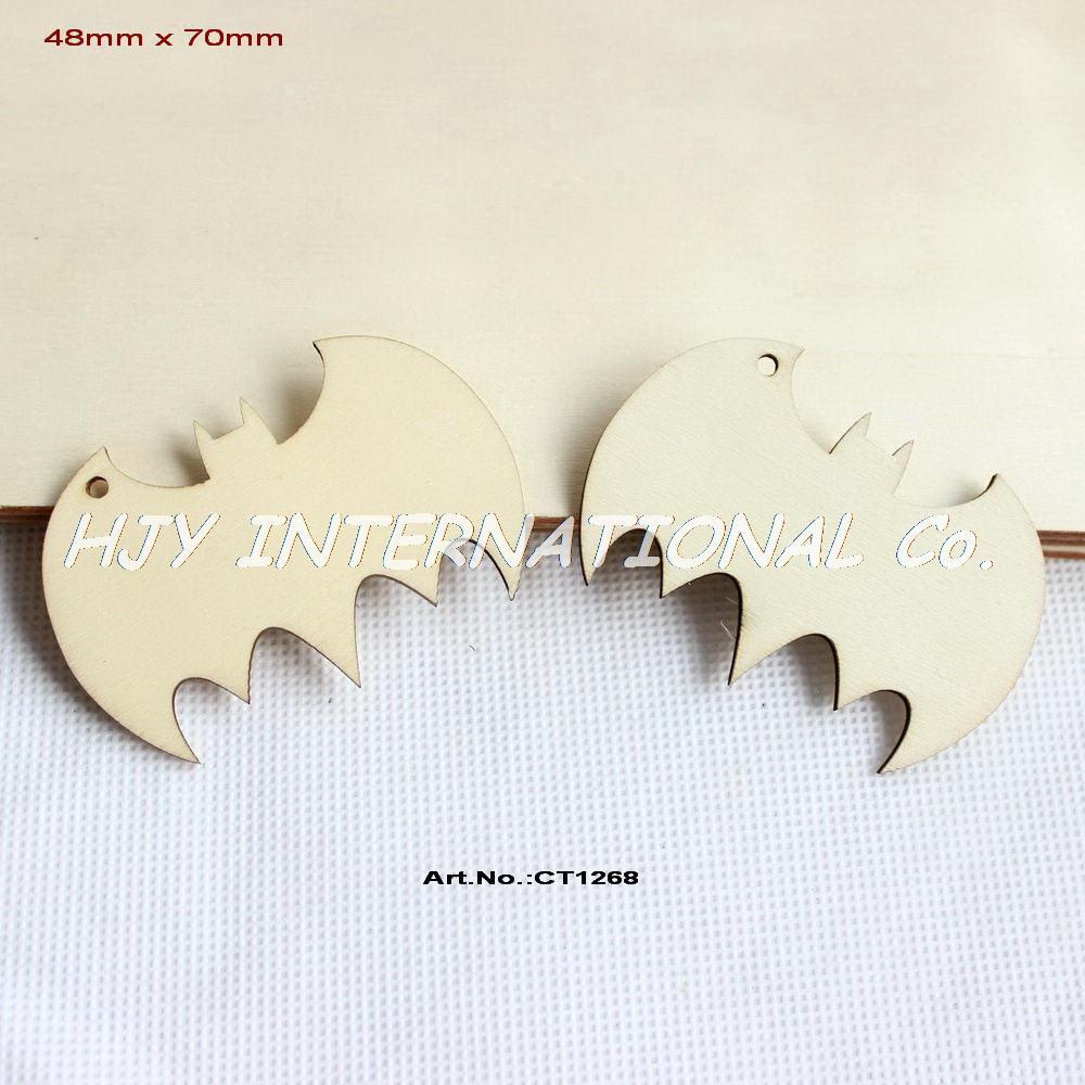 №(50 unids/lote) 70mm en blanco sin terminar madera bat llavero ...