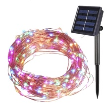 Solar Powered String Lights 12M 100 LEDs Copper Wire Light Starry Garland Lighting Indoor Outdoor LED Garden Decoration
