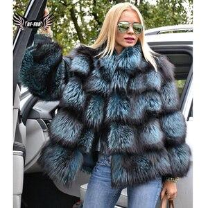 Image 1 - BFFUR כתרים אישה חורף 2020 אופנה מעילי עור אמיתי חדש בתוספת גודל בגדים מלא פלט אמיתי טבעי פרווה כחול שועל מעיל