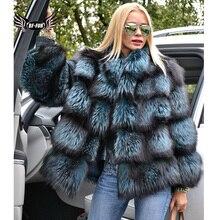 BFFUR Capped Donna Inverno 2020 di Modo Giubbotti In Vera Pelle Nuovi Vestiti di Formato Più Completa Pelt Reale Naturale Pelliccia di Volpe Blu cappotto
