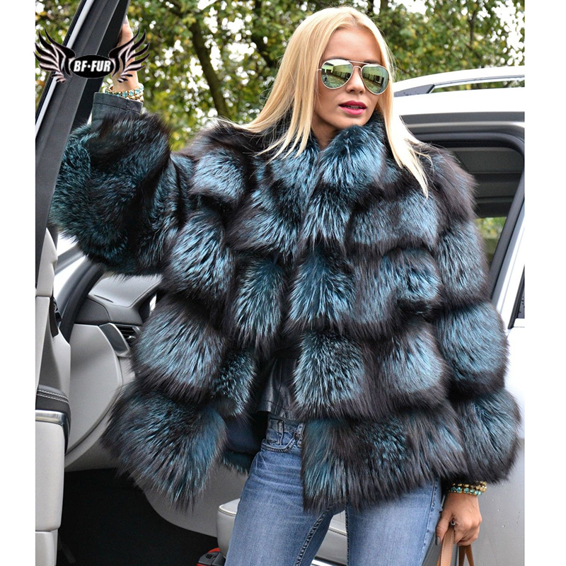 BFFUR  Capped Woman Winter 2018 Fashion Jackets Genuine Leather New Plus Size Clothing Full Pelt Real Natural Fur Blue Fox Coat