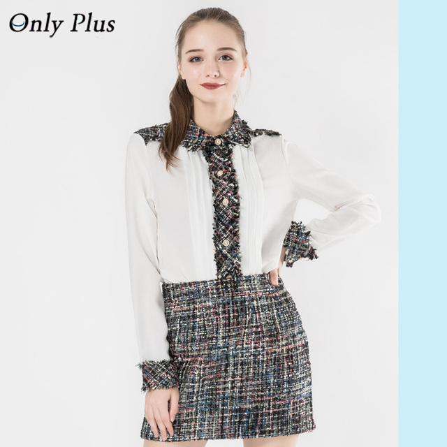 8b630b146be ONLY PLUS Women Blouse Fashion Suits White Blouse +Split joint Skirts Two  Pieces Long Sleeve 2018 New Design