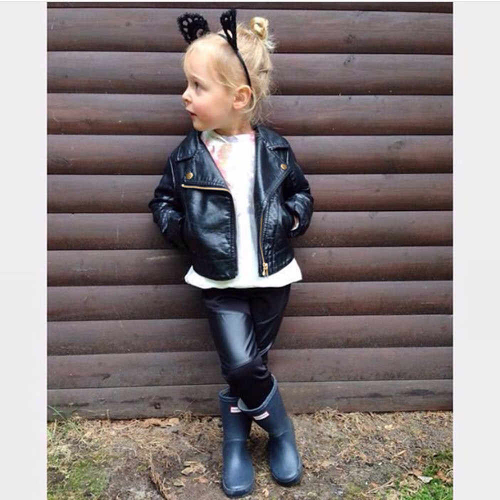 Baby Boys Girls  Jacket Coat Autumn Winter Girl Boy Kids Baby Outwear Leather Coat Short Jacket Clothes Lapel Leather Jacket