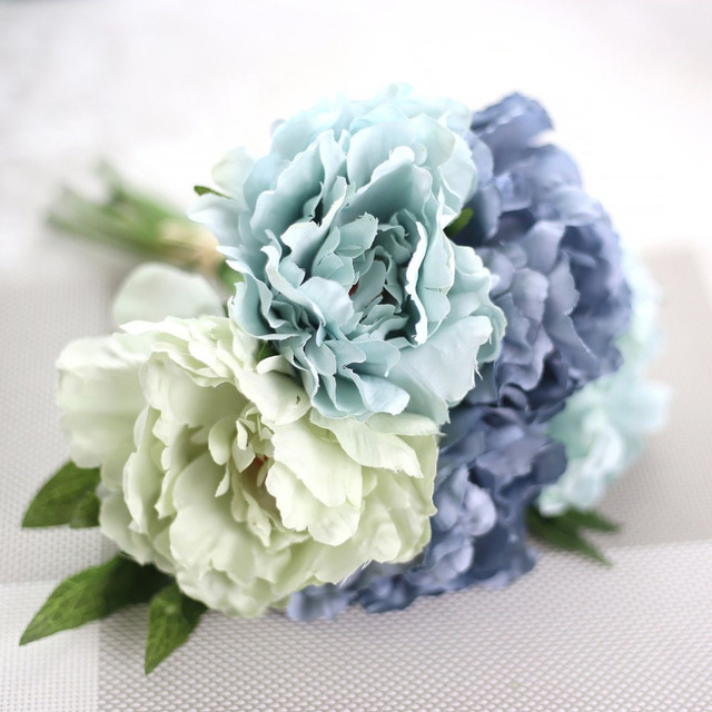 Beautiful Charming Artificial Flowers Fake Peony Bridal Bouquet for Wedding Decoration Romantic Home Decorative Blue Pink Color