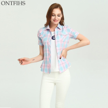 ONTFIHS Cotton shirts casual kimono cardigan Slim Brand Women's tunic Women tops and Blouse Plaid & Checks Shirt S-28