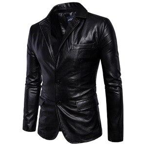 Image 4 - Marca Moto Giacche In Pelle Da Uomo Inverno Primavera Giacche di Pelle Abbigliamento Maschile di Business In Pelle Casuale Uomini Giacca Cappotti 5XL