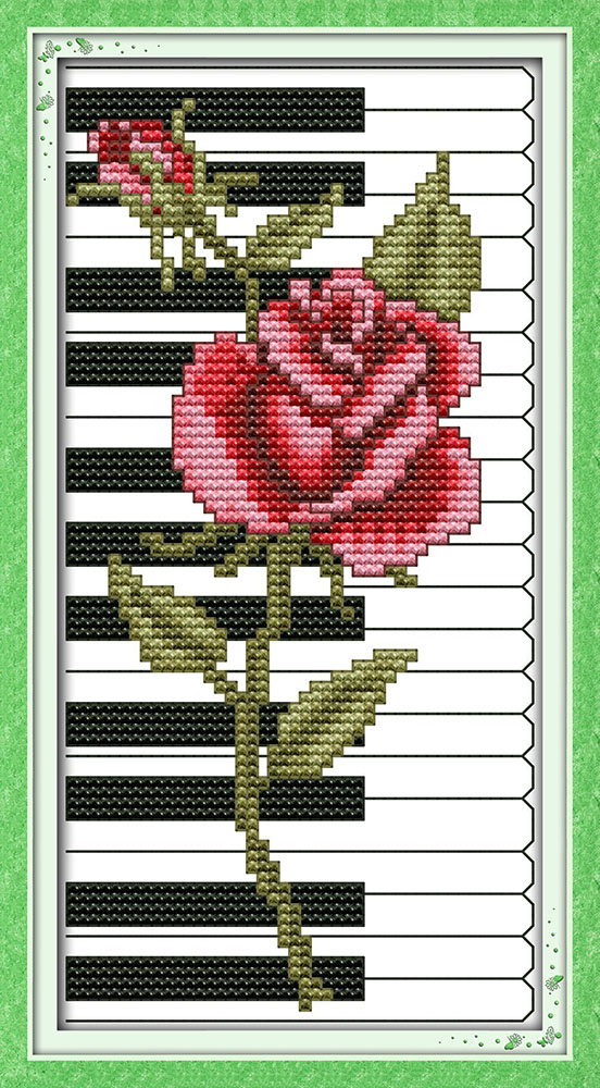 Electronic Components & Supplies Rose Piano Red Flower Canvas Dmc Cross Stitch Kits Cotton Accurate Printed Embroidery Diy Handmade Needle Work Wall Home Decor