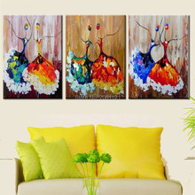 hand made 3 piece modern abstract oil painting on canvas colorful ballerina art paintings ballet dancer girl home decor picture