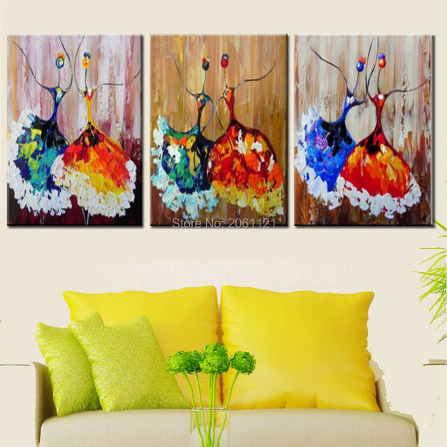 Hand Made 3 Piece Modern Abstract Oil Painting On Canvas Colorful Ballerina Art Paintings Ballet Dancer
