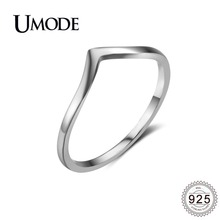UMODE 2019 New 925 Sterling Silver V Shape Rings for Women Fashion Polished Chevron Jewelry Party Gift ALR0470