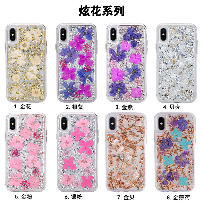 Transparent TPU Mode Glitter Echte Blume Schutz Fall Für <font><b>iPhone</b></font> X XR XSMAX Stoßfest Gold Folie Luxus Handy shell image
