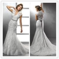 Hot Selling Wedding Dresses Cap Sleeves Organza Appliques Trumpet/Mermaid V Neck Court Train C0088