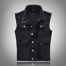 Rivet Denim Vest Men Slim Fit Coats Male Cowboy Waistcoat Hip Hop Man Sleeveless Jean Jacket Punk Style Men Clothing стоимость