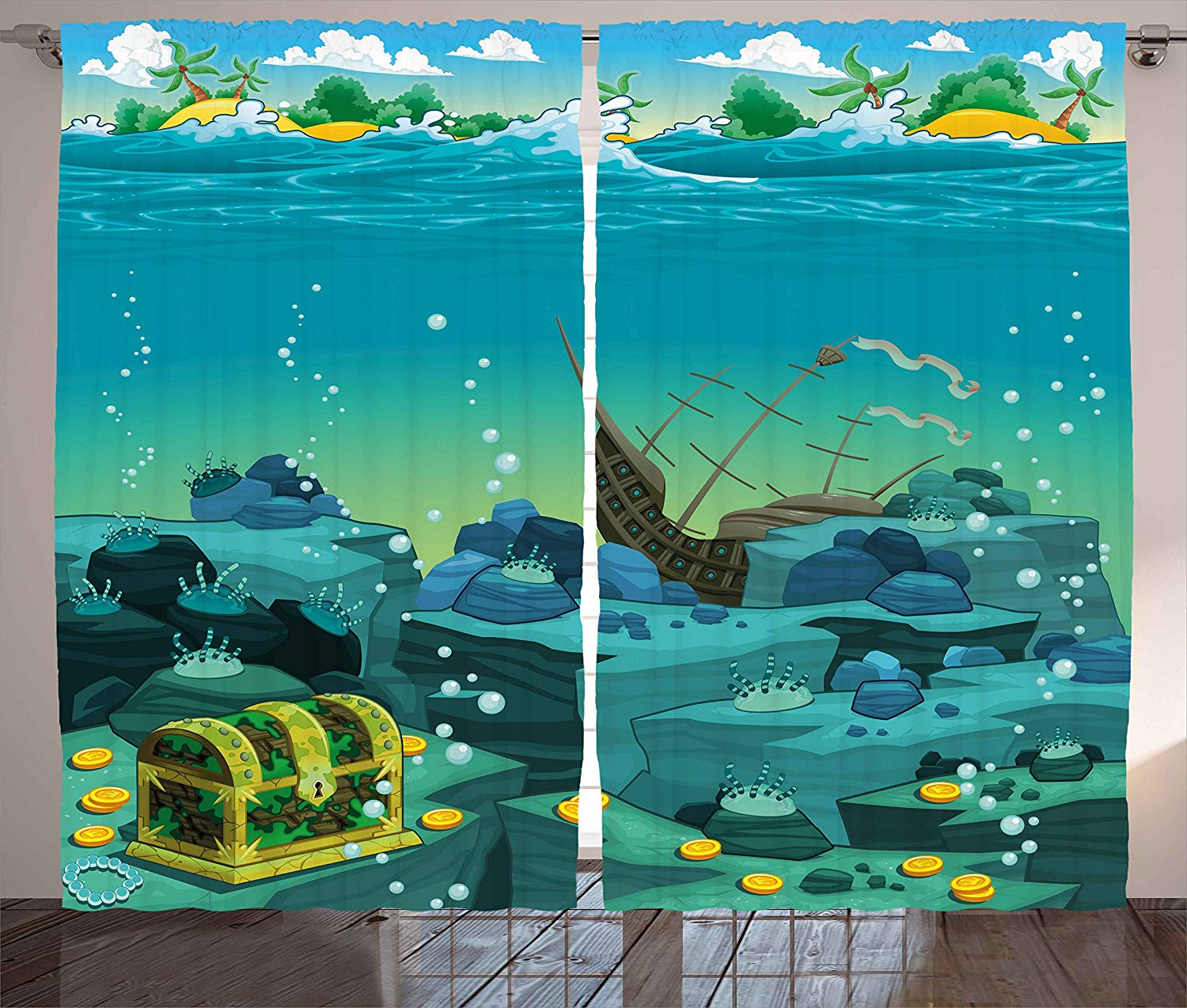Cartoon Decor Curtains Seascape Underwater with Treasure Galleon and Sunk <font><b>Ship</b></font> Pirate Kids Print Living Room Bedroom Window Drap image