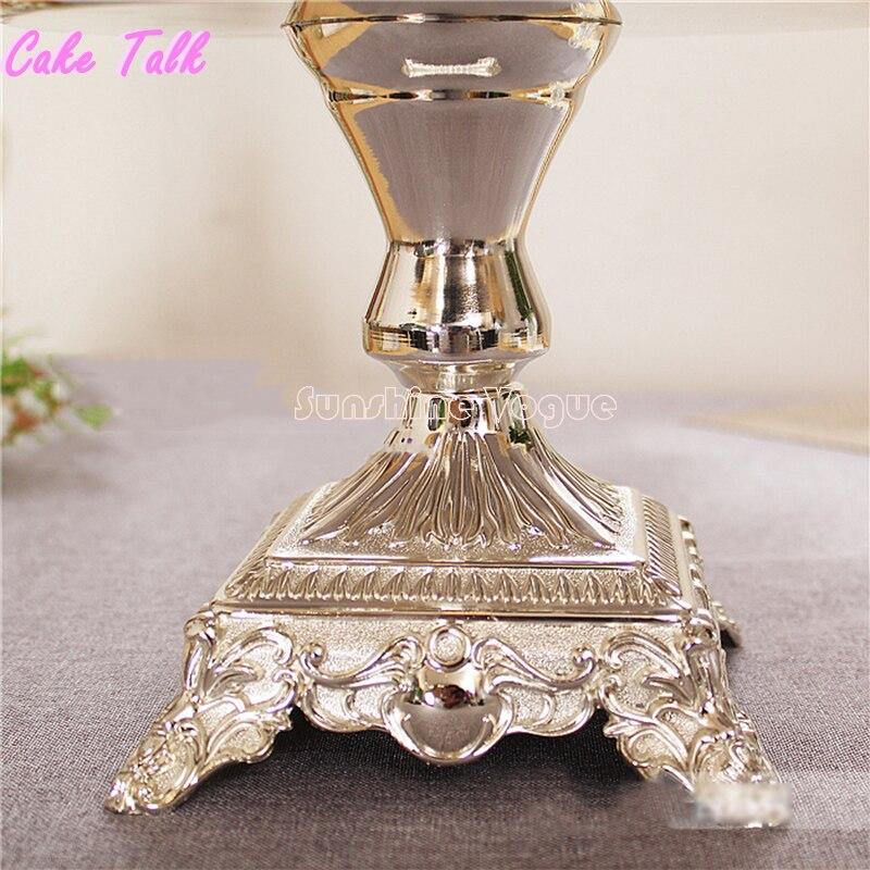 Elegant wedding silver cake stand Square feet Round tray 12inch ...