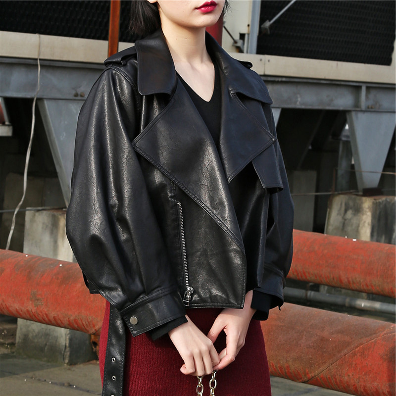 2019 Women   Leather   Jackets BF Motorcycle With Belt Faux Soft   Leather   Coats Female Short Loose Casual PU Outwear Oversize Black