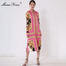 MoaaYina Fashion Designer Runway dress Spring Summer Women Dress Long sleeve Vintage Print Loose Midi Dresses