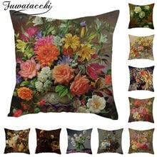 Fuwatacchi льняная Подушка с цветочным принтом чехол розы Хризантема наволочка для дома декоративные подушки для стульев букет подушка
