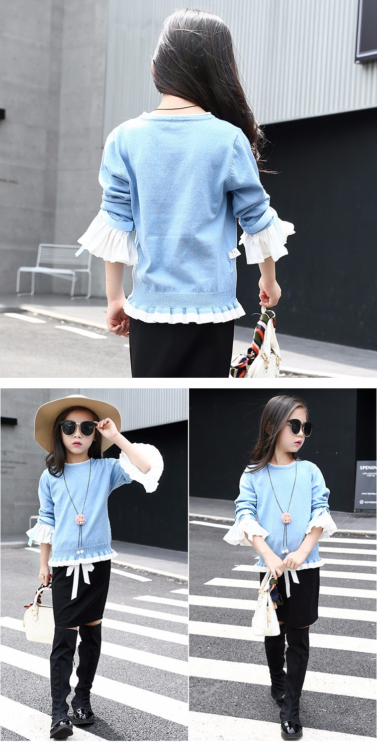 knitting little teenage girls clothes suits autumn 2016 children clothing set for girl pink blue knit sweater tops long sleeve black skirts clothes set 2016 6 7 8 9 10 11 12 13 14 15 16 years old big girl 2 pcs clothing sets (2)