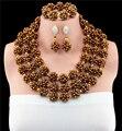 Boda Nigeriano Beads Africanos Joyería Conjunto Cristal Grande de Oro de lujo de La Joyería Nupcial Set Nuevo Envío Libre GS621