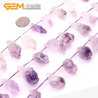 Top Drilled Freeform Natural Crude Raw Purple Amethysts Crystals Gem stone Beads For Jewelry Making Beads 15