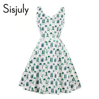 Sisjuly Vintage 1950s Dress Floral Print V Neck Summer Party Dresses Women Elegant Style Sleeveless Cute