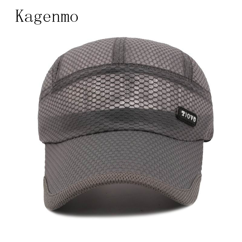 f4b2802514a Kagenmo Quick Dry Men Baseball Cap Breathable Mesh Men Hat Sports Thin Mesh  Man Visor Comfortable Breathable Summer Male Hats-in Baseball Caps from  Apparel ...