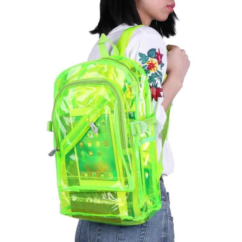 Unisex mulheres/homens pvc claro à prova dteen água mochilas adolescente holograma ombro mochilas meninas sólido brilhante transparente mochila