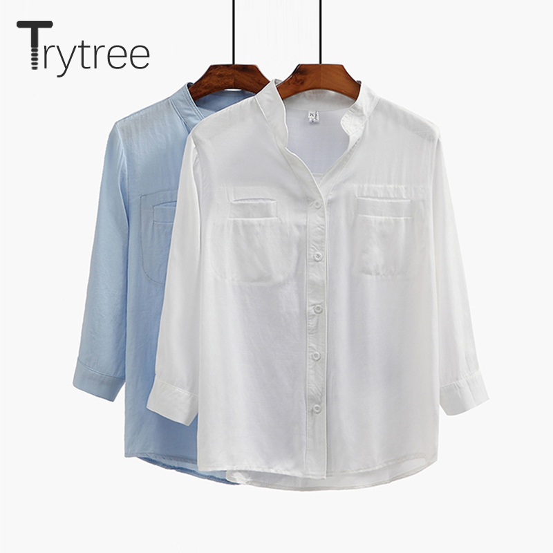 Trytree Spring Summer Women Blouse Casual Linen Shirt Turn-down Collar Blue White Tops Clothes Casual  Solid Linen Shirts