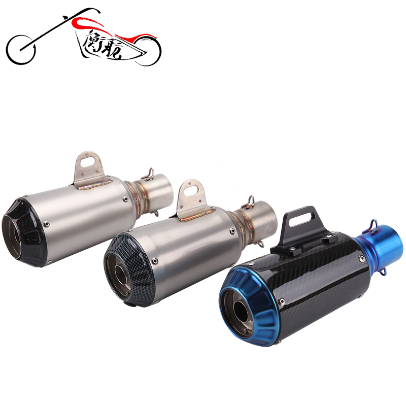 Akrapovic Universal Motorcycle Exhaust Pipe stainless steel Muffler Inlet 51mm Escape Exhaust Mufflers Carbon Fiber Exhaust Pipe