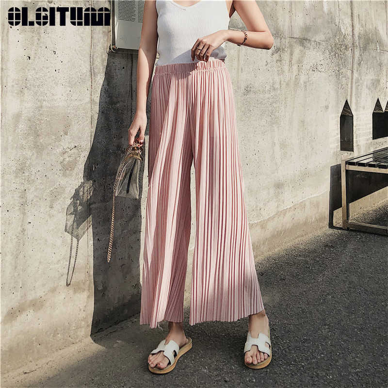 New Fashion 2019 Casual Solid Ankle-length Pants Female Loose Elastic Waist Pleated Chiffon Wide leg Women Pants for Spring