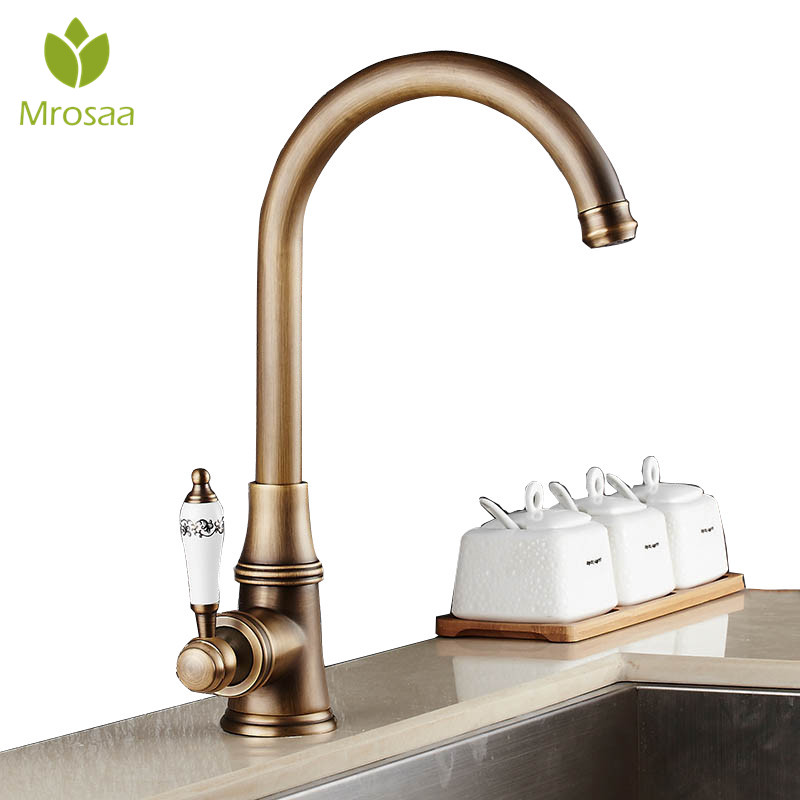 Retro Antique Brass Bathroom Kitchen Faucet Single Handle Single Hole Rotation Spout Deck Cold and Hot Water Mixer Sink Tap new arrival tall bathroom sink faucet mixer cold and hot kitchen tap single hole water tap kitchen faucet torneira cozinha