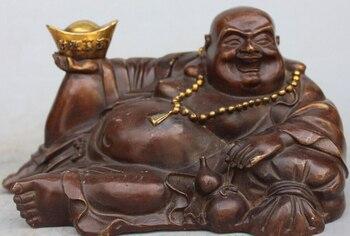 """10"""" Chinese Bronze Gilt Wealth Gourd Yuanbao Happy Laugh Maitreya Buddha Statue R0709 (B0328)"""
