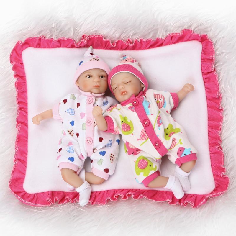 8 inch Mini Palm Little Doll Babies twins lovely 20 cm Silicone Vinyl Reborn Dolls Lifelike Real Baby Doll Girl Boy Brinquedos недорго, оригинальная цена
